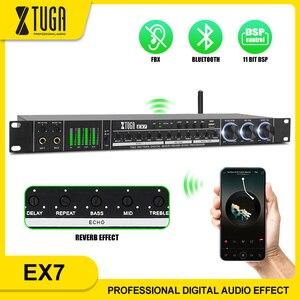 Xtuga bluetooth processador de efeitos de áudio digital com 11 bits dsp, processador de som microfone profissional, para festa de palco de karaoke