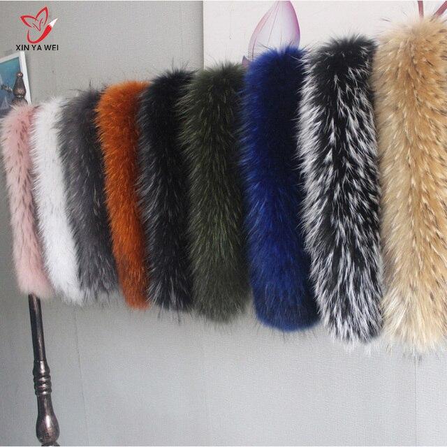 Spezielle Price100 % Natürliche Winter Pelz Jacken Echt Kragen Waschbären Pelz Frauen Schals Mantel Frau Neck Cap Lange Warme Echte schal