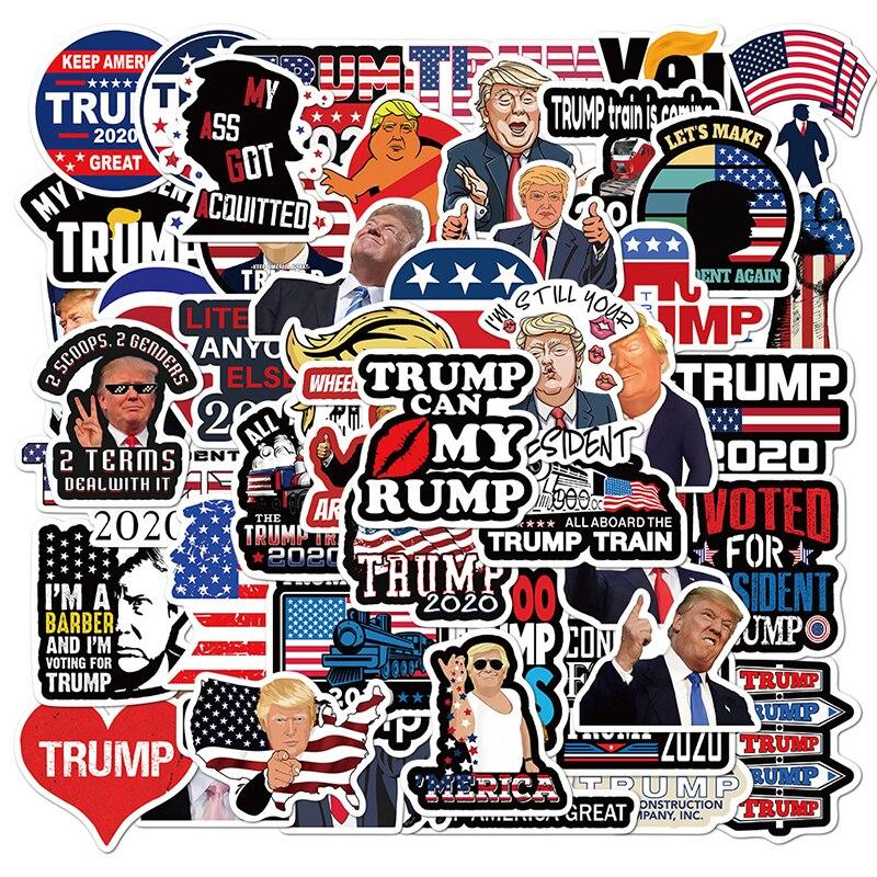 50 шт. Трамп 2020 кампании Стикеры бампер автомобиля республиканский вечерние наклейки в форме флага забавные Водонепроницаемый граффити дет...