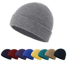 Мода однотонный цвет вязаный шапочки шапка зима теплый лыжный шапки мужчины женщины многоцветный череп шапки мягкий эластичный шапка спорт капот