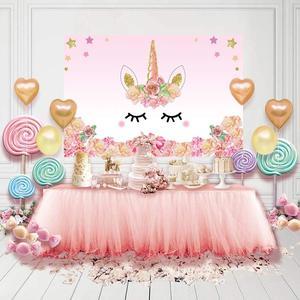 Image 2 - Unicorno Decorazioni della Festa di Compleanno Per Bambini Unicorn Partito Sfondo Arcobaleno Fotografia di Sfondo Del Bambino Della Decorazione Doccia HL39