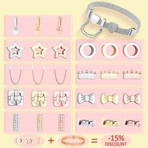 Charm 925 Sterling Silver Shiny Zircon Fashion Jewelry Original Reflexion Fit Original silver Charm Bracelet DIY