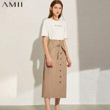 AMII – jupe minimaliste pour femme, décontractée, à taille haute, simple boutonnage, longueur mollet, avec nœud, mode automne 12070195