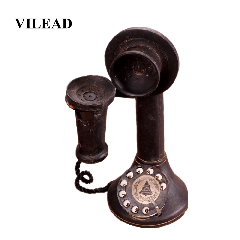VILEAD 22cm Resin Vintage Decorative Telephone Figurines Home Decoration Accessories Vintage Old Craft Phone Ornament Gift Kids