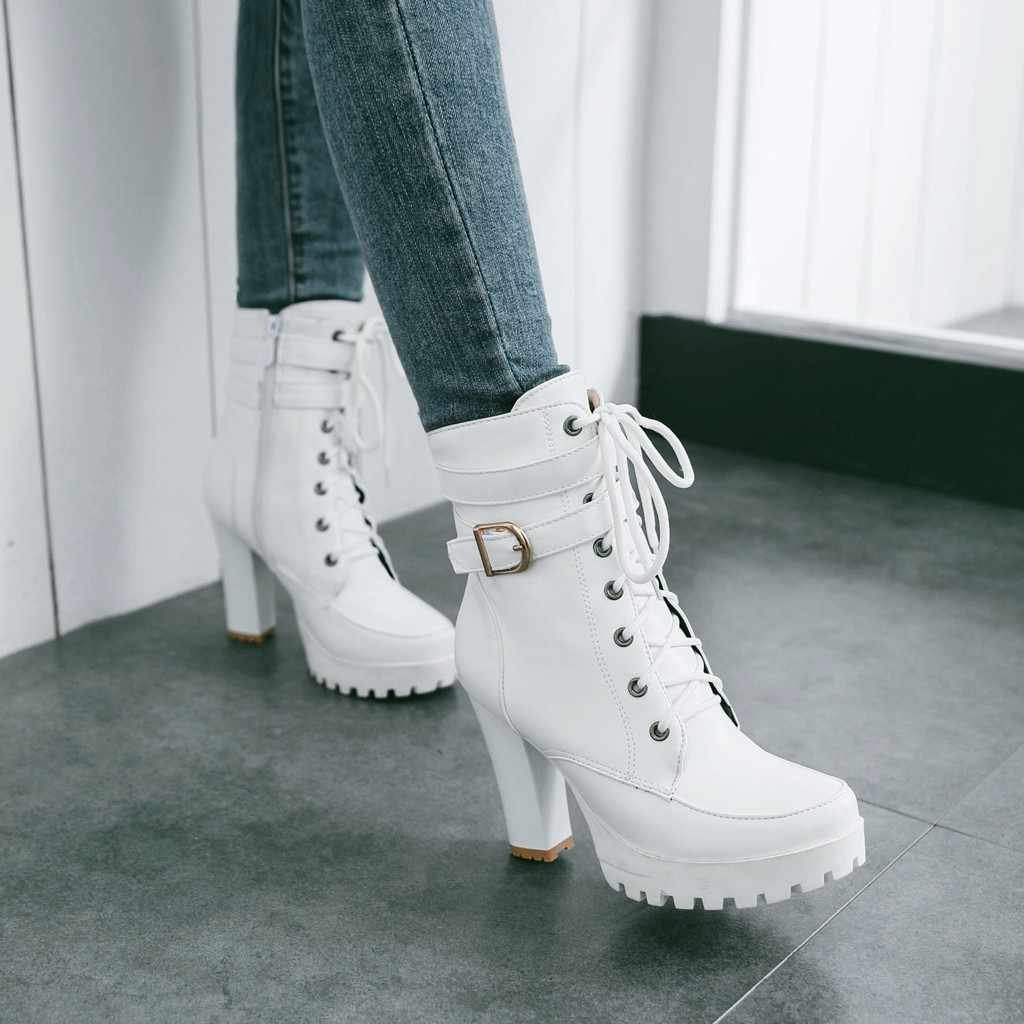 Yüksek topuklu kadın yarım çizmeler Lace Up sonbahar kış platformu bayanlar çizmeler büyük boy moda ayakkabılar beyaz siyah kahverengi