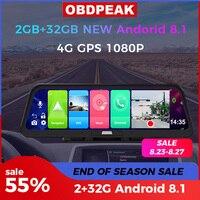 Videoregistratore Dash Cam 10 pollici Android 8.1 ADAS 10 in 1 2GB 32GB Car DVR Mirror Camera 4G WIFI GPS Bluetooth Full HD 1080P