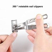 1 шт., вращающаяся кутикула на 360 градусов, нержавеющая сталь, машинка для стрижки ногтей, портативная Кусачка для ногтей, кусачки для ногтей, триммер для пальцев, инструменты для ногтей