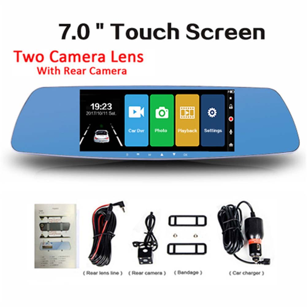 Video-Recorder Camera Dash-Cam Car-Accessories Rearview-Mirror Car-Dvr Dual-Lens 7inch