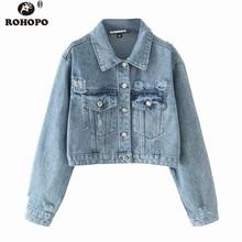 ROHOPO Autumn Women Short Slim Denim Jacket Classical Blue Water Washed Frayed Streetwear Jeans Outwear #120