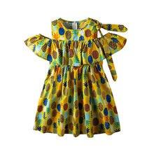 Летние платья для девочек детские с принтом ананасов детское