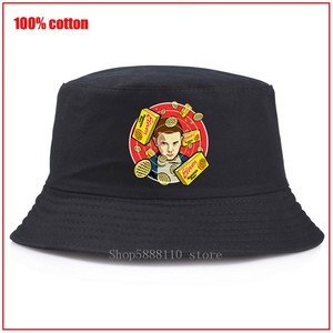Stranger Things, temporada 3, sombrero de cubo de Panama para hombres y mujeres, gorro de verano con estampado amarillo, sombrero de pescador pescando Hip Hop