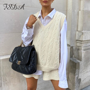 FSDA 2020 Sleeveless Sweater Top Vest And Shorts Mini Women Set Knitted Autumn Winter Two Piece Set Casual Suit Party Outfits
