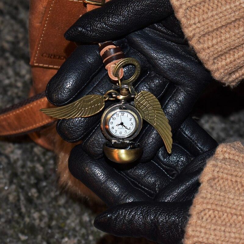 Подвеска-снитч из фильма «HP Golden», брелок с кожаным ремешком, винтажное бронзовое кольцо для ключей, смертельный гвоздь, медальон, время вращ...