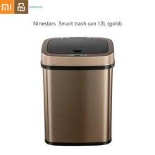 Ninestars NST Smart Sensor Trash Can Stainless Steel Square Waste Bin Garbage Bin Office Rubbish Bin Gold 12L From Xiaomi Youpin