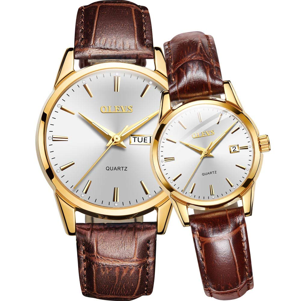 OLEVS Couple Watch Breathable Leather Band Fashion Business Waterproof His And Her Quartz Wristwatch Set For Lovers One Pair