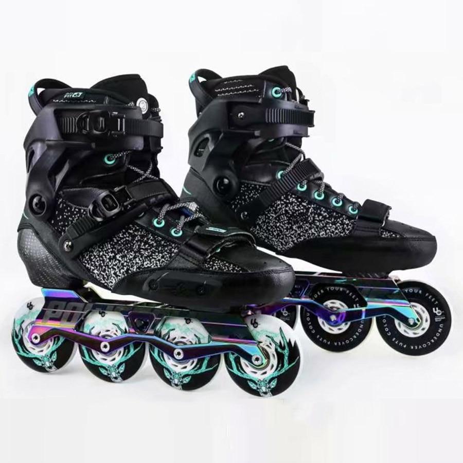 2019 Original Powerslide EVO Hardcore Urban Carbon Fiber Inline Skates Street Adult Roller Skating Shoes Free Skating Patines