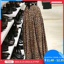 Women Elegant High Waist Skirts Leopard Print Maxi Skirts Celmia Fashion Elastic Party Sexy Skirt OL Casual Long Skirt