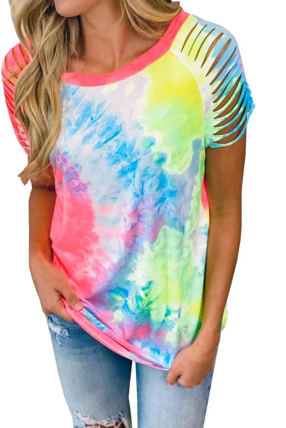 Tie-Dye/Camo T-shirt Zomer Hollow Korte Mouw Losse T-shirt Vrouwen Plus Size Fashion Casual O-hals t-shirts Femme Tee Tops Jg3