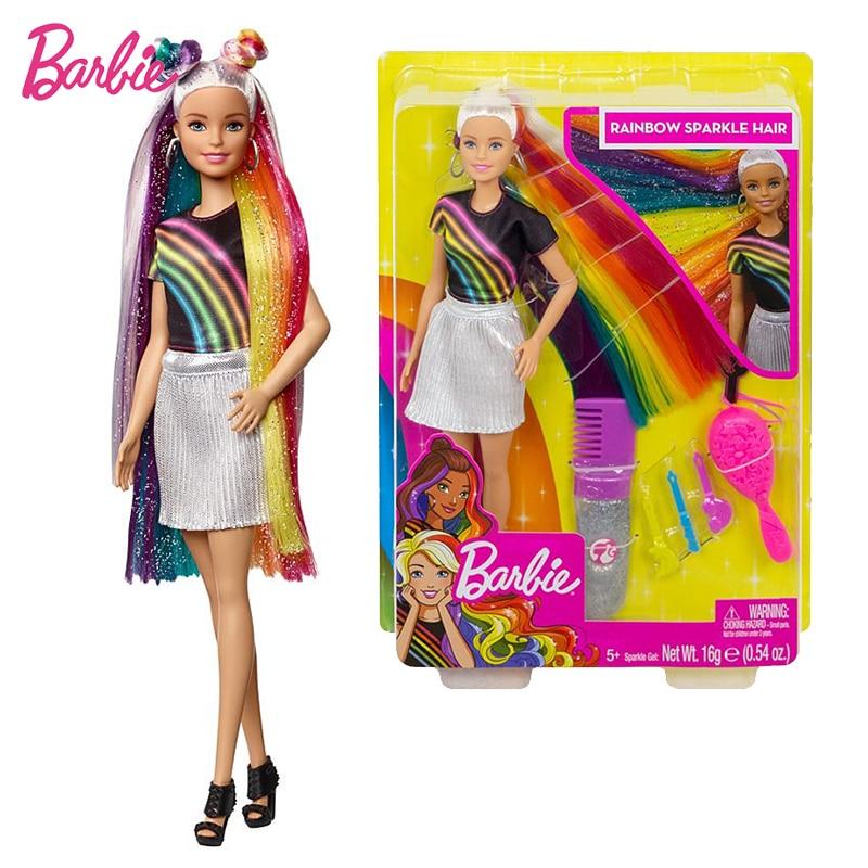 Original Barbie Rainbow Sparkle Hair Doll Birthday Present Girl Brinquedos Bonecas Toys For Kids Juguetes Paratoys Girls Gift