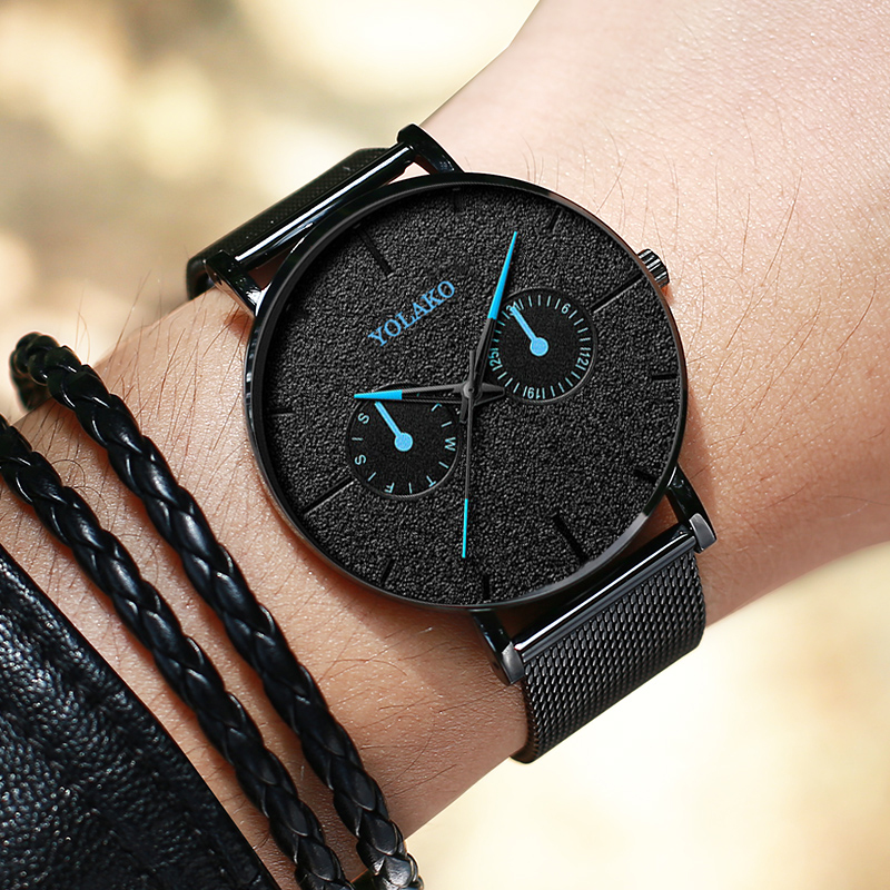 2019 New Watch Blue Pointer Casual Mesh Belt Fashion Quartz Fashion Mens Watch Luxury Male WriststWatch Clock Relogio Masculino
