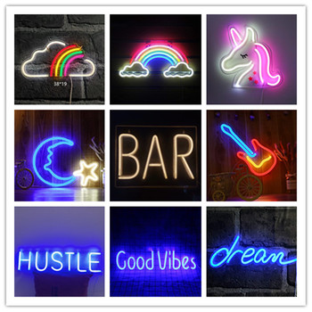 10 Kind LED Neon Lights Hanging Neon Wall Sign Unicorn Rainbow Bar Light for Christmas Holiday Party Home Art Decor Neon Pub neon signs for corona guitar neon bulb sign beer bar pub neon light sign store display lamps glass with clear board dropshipping