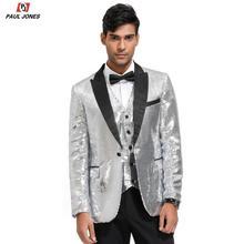 PAUL JONES Men Shiny Sequin Blazer Suit Jackets Sl