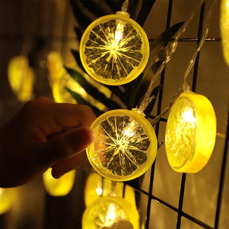 2019 Fresh Lemon Orange Wedding String Fairy Light Christmas LED Festoon Led String Light Party Garden Garland On The Window