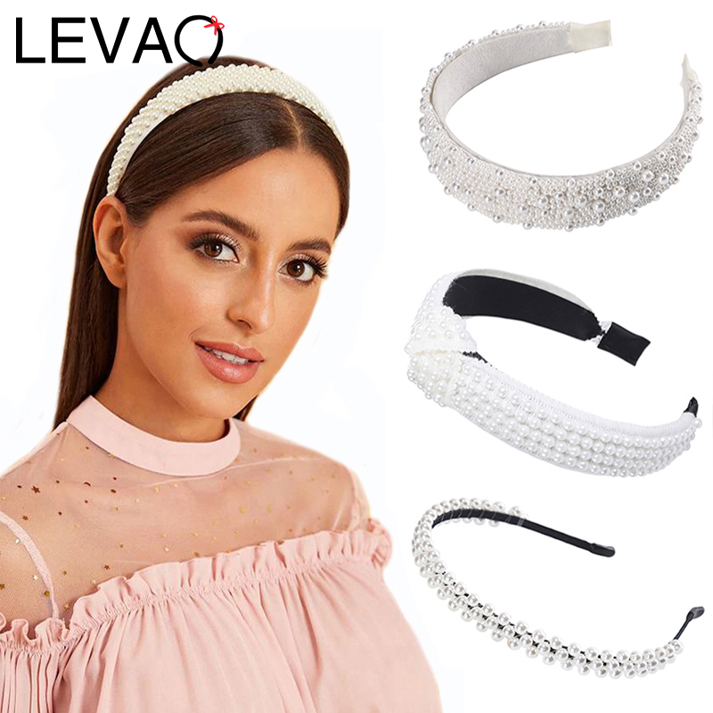 LEVAO 2020 New Full Pearl Elegant Headband Knotted Hairbands Thin-brimmed Bezel Turban Women Girls Hair Accessories Hair Hoop