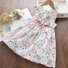 1-4Y Summer Baby Girls Sleeveless Flower Print Dresses Clothes Kids Summer Princess Dress Children Party Ball Pageant Dress Outf 2019 kids girl sleeveless dress summer girls prined flower dresses children clothes baby cotton princess dress outfits