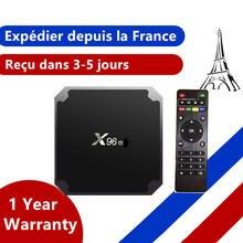 Decodificador inteligente x96 iptv, android 9,0, dispositivo de tv inteligente, 1GB, 8GB, 2GB, 16GB, Amlogic S905W, envío desde Francia