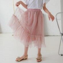 Pink White Ruffles Skirts Teenage Girls Mesh Sequin Striped Summer Tutu Skirt Baby Girl Clothing Kids High Waist Mid Calf Skirt