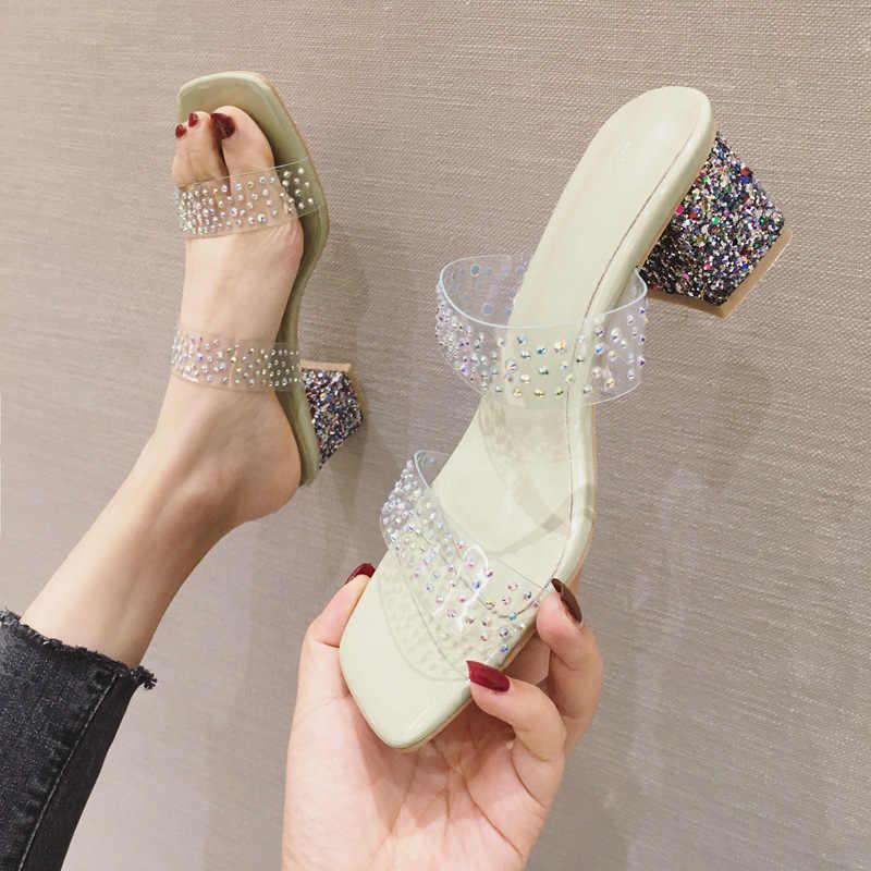 Sandały średnio wysokie obcasy 5.5cm szpilki z kwadratowymi noskami blokują piętę z kolorowym kryształem zdobią pantofel damski