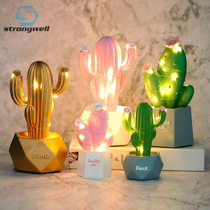 Strongwell Cactus Nórdico Luz Noturna Sonho Estrela Luzes Candeeiro de Mesa Presentes de Decoração Para Casa Acessórios Do Bebê Da Menina Bonito Night Light