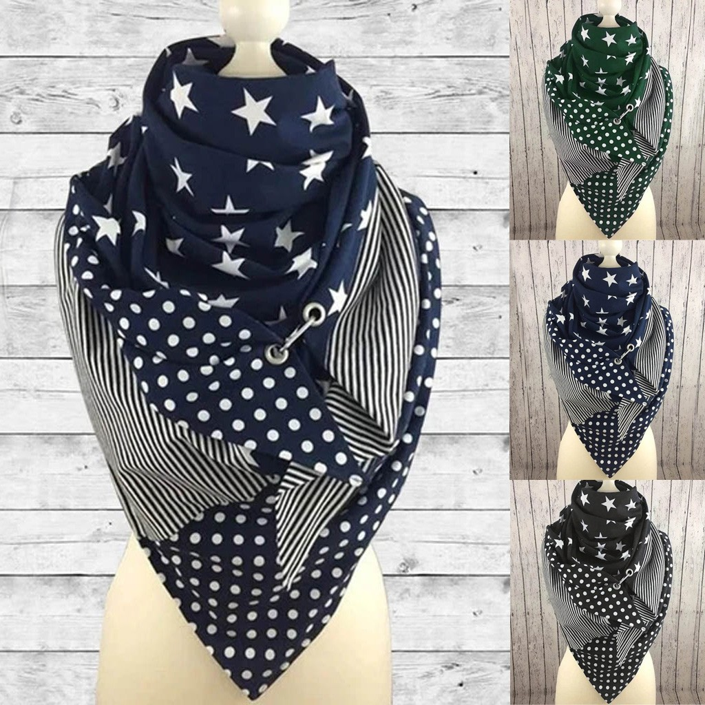 Scarf For WomenFashion Women Soild Star Printing Button Soft Wrap Casual Warm Scarves Shawls шарф женский Scarf For Women