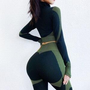 Image 3 - シームレスワークアウトヨガセット女性スポーツジム着用ランニング服女性トラックスーツスポーツウェアフィット長袖 + レギンススーツ