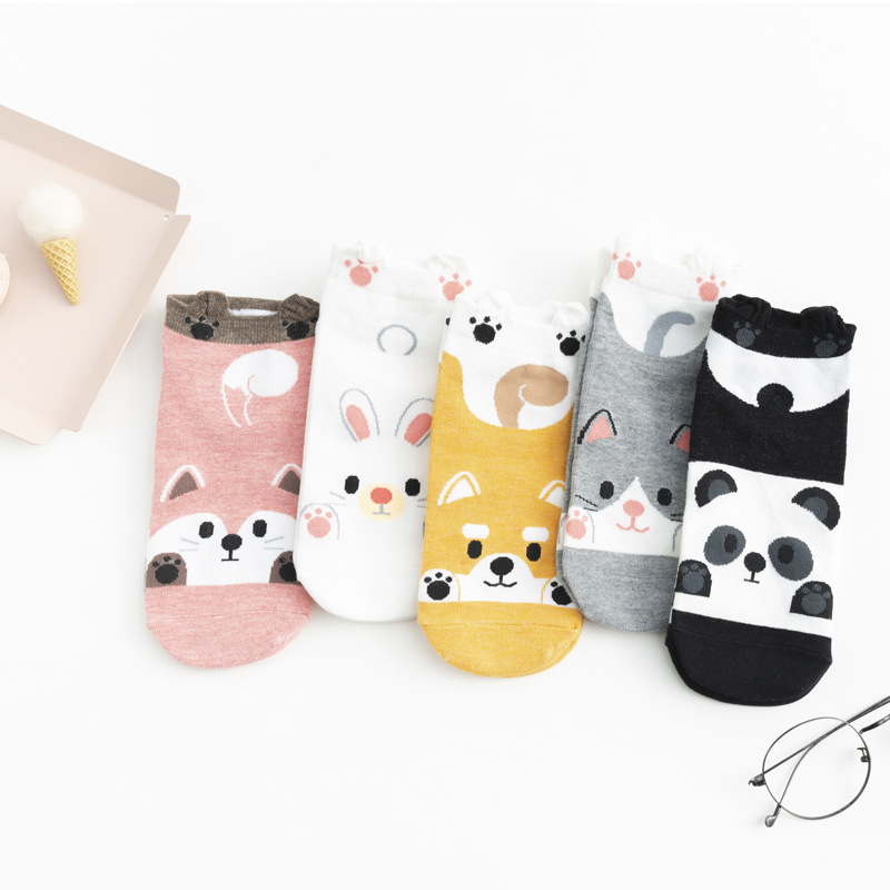 Panda Fox Rabbit Dog Autumn Winter Fashion Animal Women Cotton Socks Casual Happy Funny Socks Korea Harajuku Kawaii Cute Girls