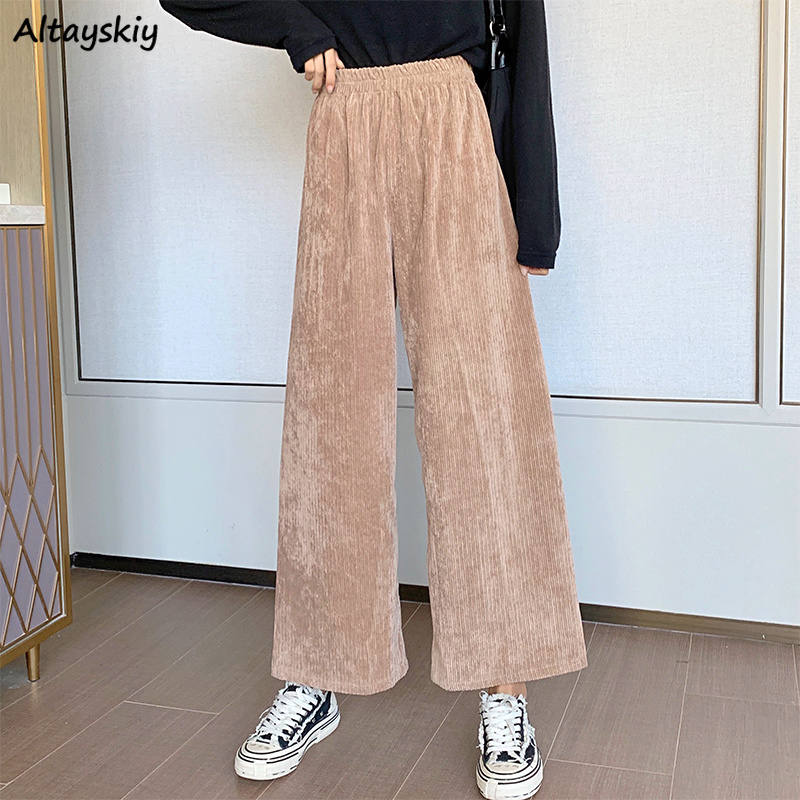 Corduroy Pants Womens Solid Daily Basic All-match Loose Female Trousers Elastic Waist Comfortable Simple Street Style Casual New