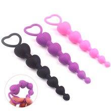 Heart beads Soft Anal Plug anus Toys Big Balls Silicone G-Spot Stimulating Butt Plugs Adult Sex Couple Sexy