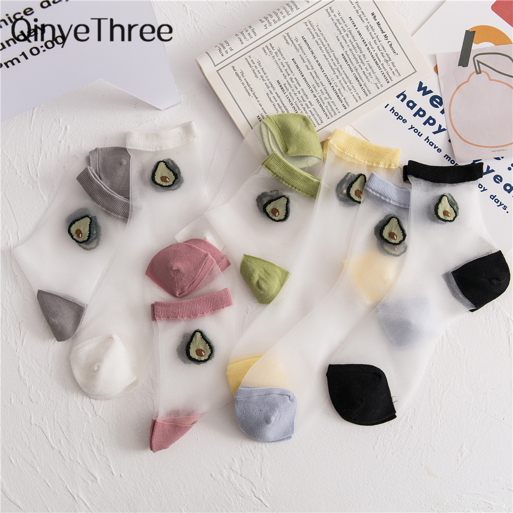 Japanese Korea Style Women's Happy Funny Cartoon Fruit Ultra-thin Ice Silk Socks Thin Breathable Glass Silk Summer Avocado Socks