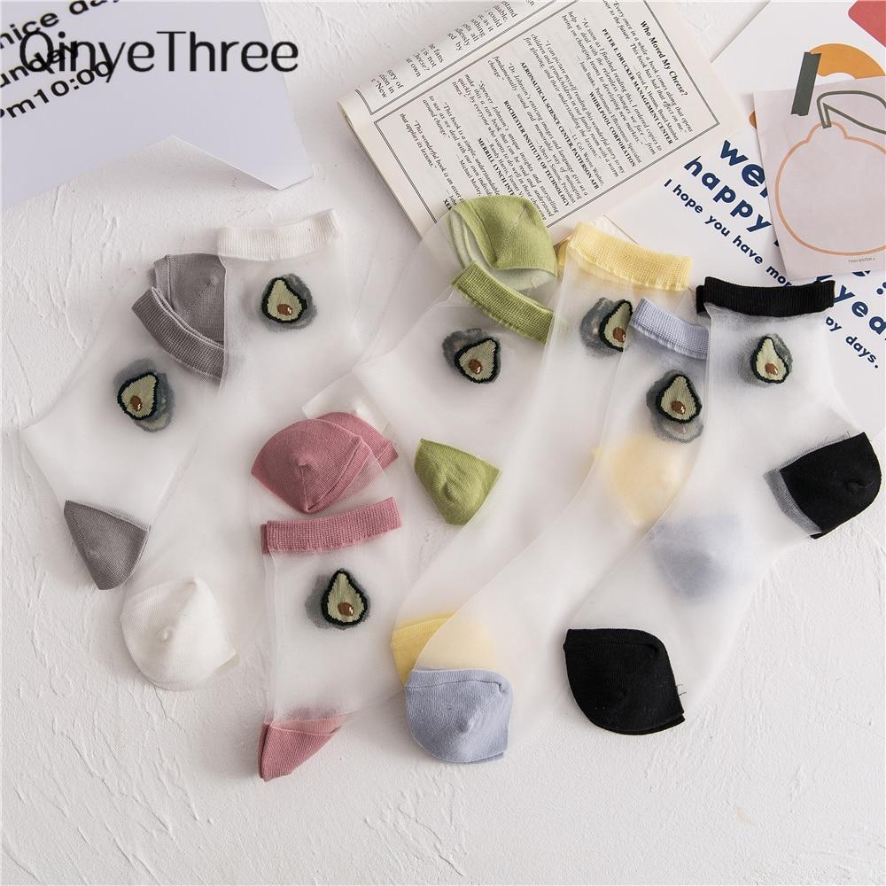 Japanese Korea Style Women's Happy Funny Cartoon Fruit Ultra-thin Ice Silk Socks Thin Breathable Glass Silk Summer Avocado Socks