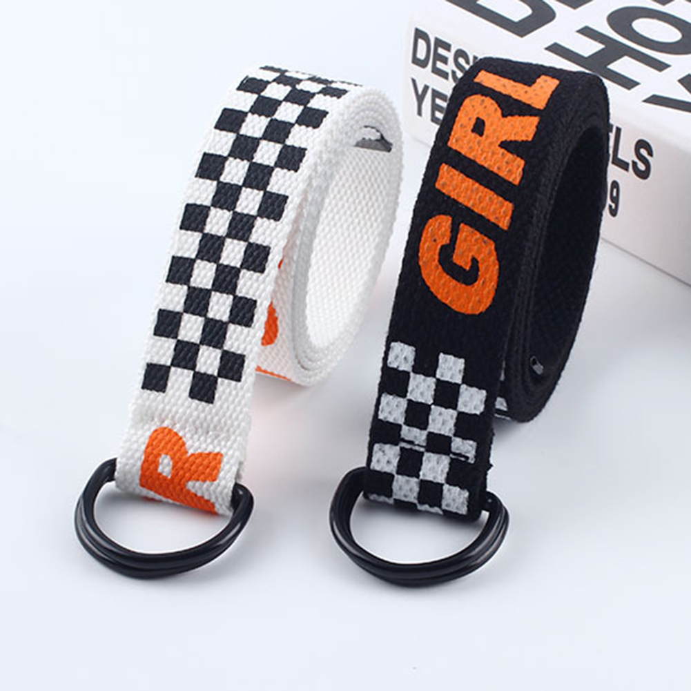 130cm Unisex Canvas Belts Letters Printed D Ring Double Buckle Punk Waist Strap Women Men Teenager Long Wide White Belt