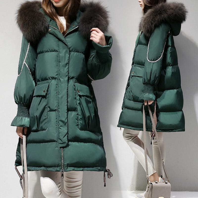 Down Jacket Woman Oversized Long Coat Winter Coat Women Raccoon Fur Collar Parka Korean Coat Chaqueta Mujer YPY18 YY1946