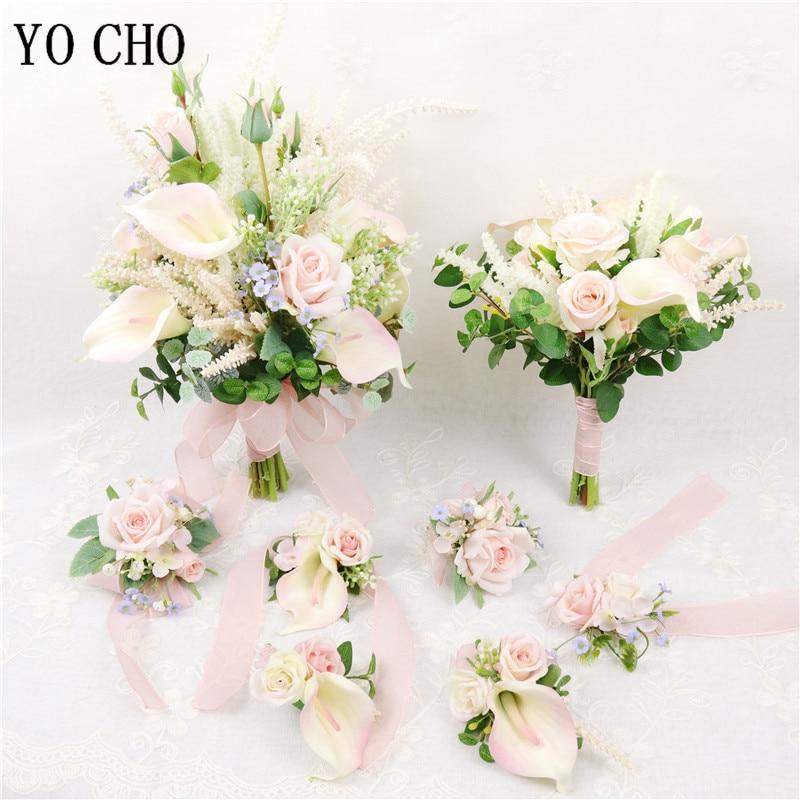 YO CHO Rose Calla Lily Flower Bouquet Silk Flower Pink Girl Bridal Wedding Supplies Newest Design Handmade Wedding Bouquet Craft