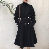 Размера плюс XL-5XL длинное пальто для женщин осень зима черный дамы Duster пальто Готический ветровка уличная