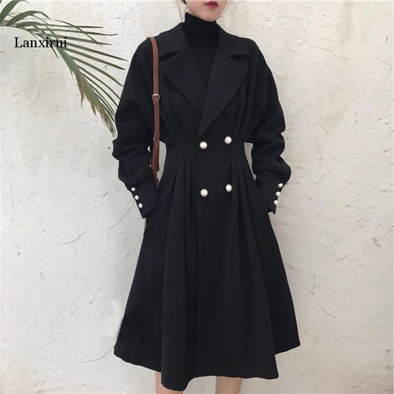 Plus Size XL-5XL Long Trench Coat For Women Autumn Winter Black Ladies Duster Overcoat Gothic Windbreaker Streetwear