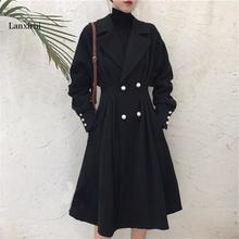 Plus Size XL-5XL Long Trench Coat for Women Autumn Winter Black Ladies Duster Ov