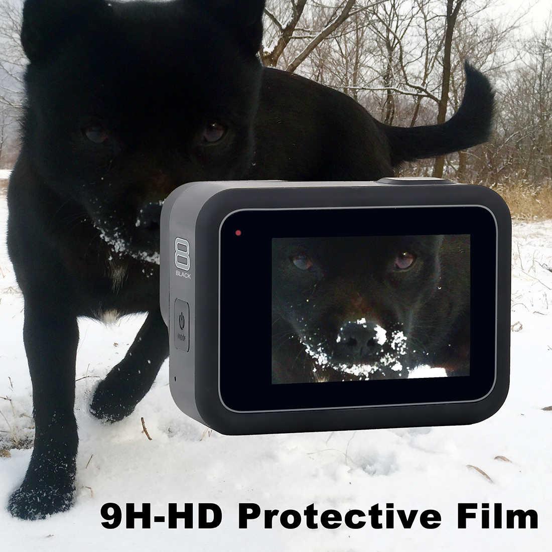 QIUNIU سامسونج شاشة كمبيوتر محمول ذات دقة عالية + واقي للشاشة الأمامية + عدسة شاشة طبقة رقيقة واقية ل GoPro بطل 8 أسود كاميرا من جو برو 8 ملحق