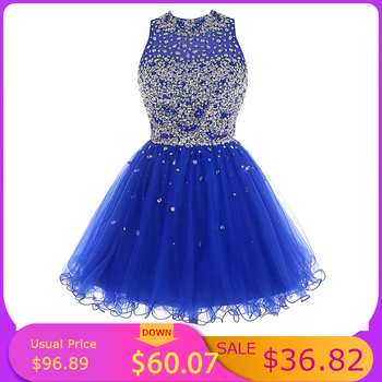 Cheap Royal Blue Homecoming Dress Crystal Beaded Sparkly Short Gowns Above Knee Mini Prom Graudation Party Free shipping