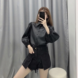 New design za PU faux leather Womens Blouses Shirts puff sleeve autumn Womens tops and blouses streetwear korean Camisa Blusas 4
