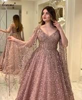 Plus Size Blush Pink Evening Dresses A Line Middle East Lace Prom Dresses Beading Celebrity Dresses Party Women Robe De Soiree